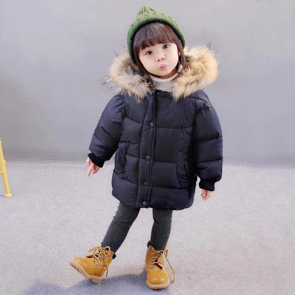 Winter Solid Coat Cloak Jacket Thick Warm Hooded Outerwear Clothes Willsa Baby Girls Jacket