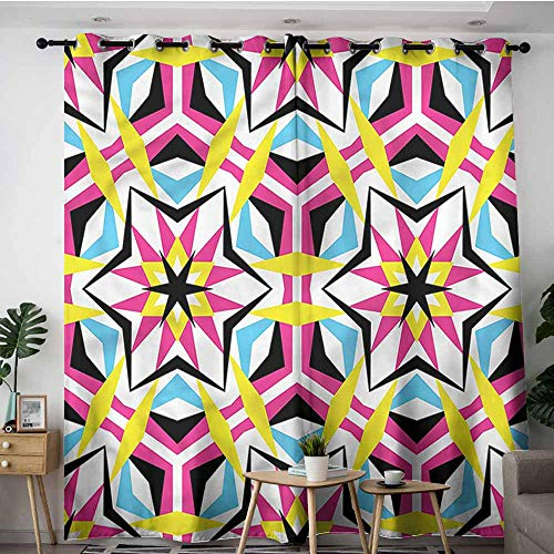 - XXANS Window Curtain Panel,Psychedelic,Disco Geometric Stars,Blackout Draperies for Bedroom,W120x72L