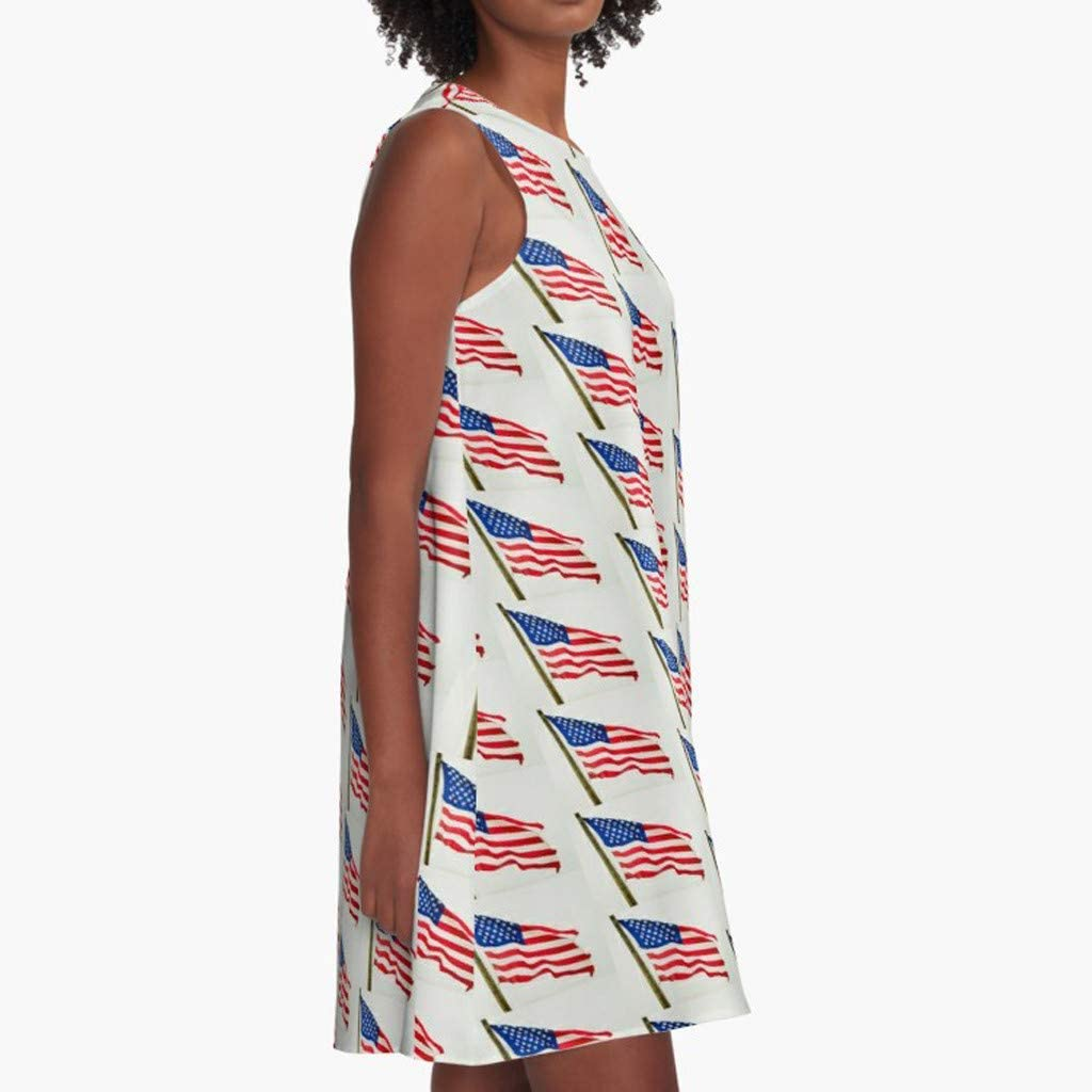 Womens Vest Dress Summer 4th of July Independence Day American Flag Print O Neck Swing Dresses