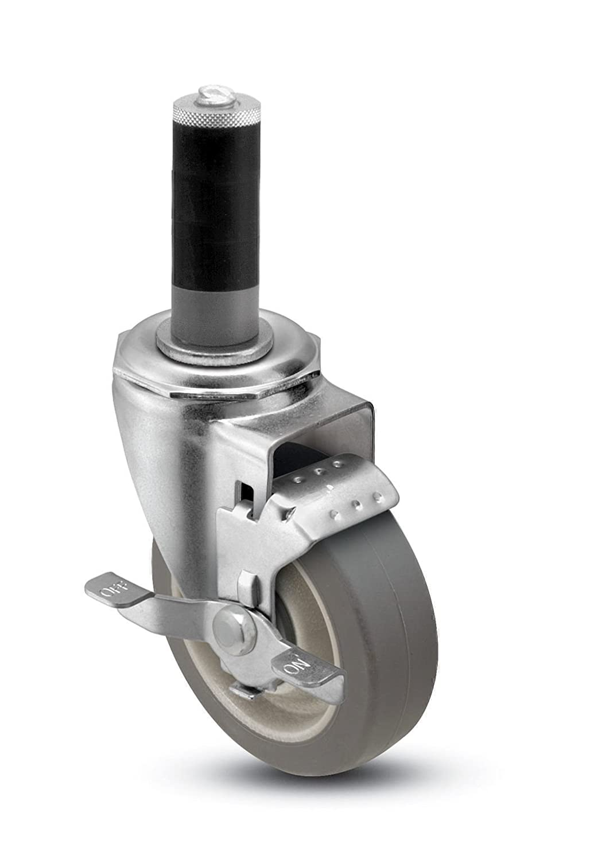 Fits 1-5//8-1-11//16 Round Tube Diameter Shepherd Institutional Series 5 Diameter Precision Bearing Flat MonoTech Wheel Swivel Caster with Tread Brake 325 lbs Capacity Expanding Stem