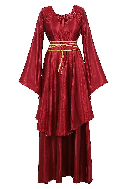 AOLAIYAOQU Renaissance Irish Medieval Dress for Women Plus Size Long Dresses Lace up Costumes Retro Gown