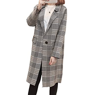 92749dbd144099 best newbestyle jacke damen oberteile mantel kariert kleidung lange jacken  jacket plaid top coat mit knpfe with mantel kariert