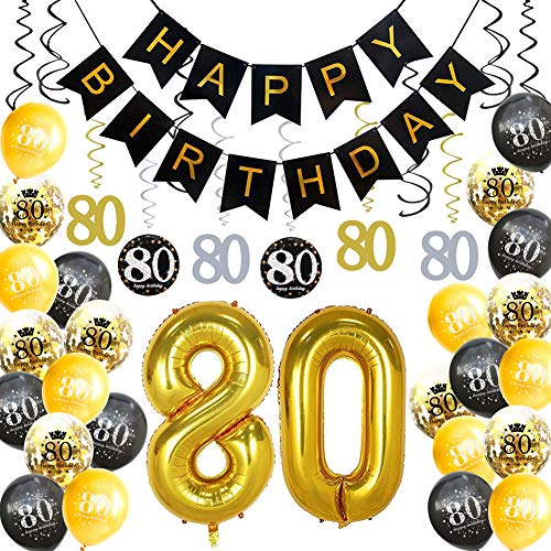 HankRobot 80th Birthday Decorations Party Supplies(42pack) Gold Number Balloon 80 Happy Birthday Banner Latex Balloons(Black, Golden) Confetti Balloons -Great for 80 Eighty Years Old Birthday Party -