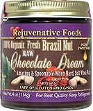 FOUR 9 oz Fresh Raw Organic Honey Chocolate-Brazil-Nut-Dream Rejuvenative Foods Pure Smooth-Creamy Dairy-Free StoneGround white-sugar-free fudge Candy-In-Glass-Jar Certified USDA Organic (4 - 9 oz.)