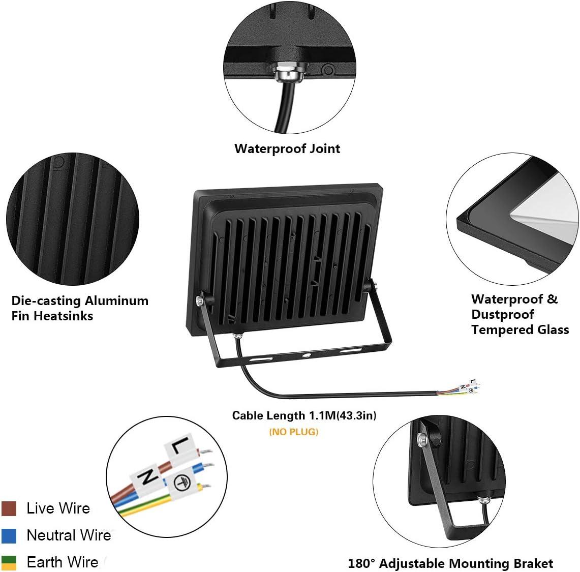 Foco LED 60W IP66 Luz de Seguridad Exterior Impermeable, 4800LM ...
