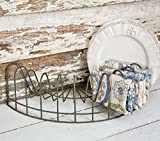 CTW Home Collection Vintage Style Rustic Wire Dish Rack, Plate Display, File Holder, Mail caddy, Card Holder,Gray,16'' x 8'' x 4.5''