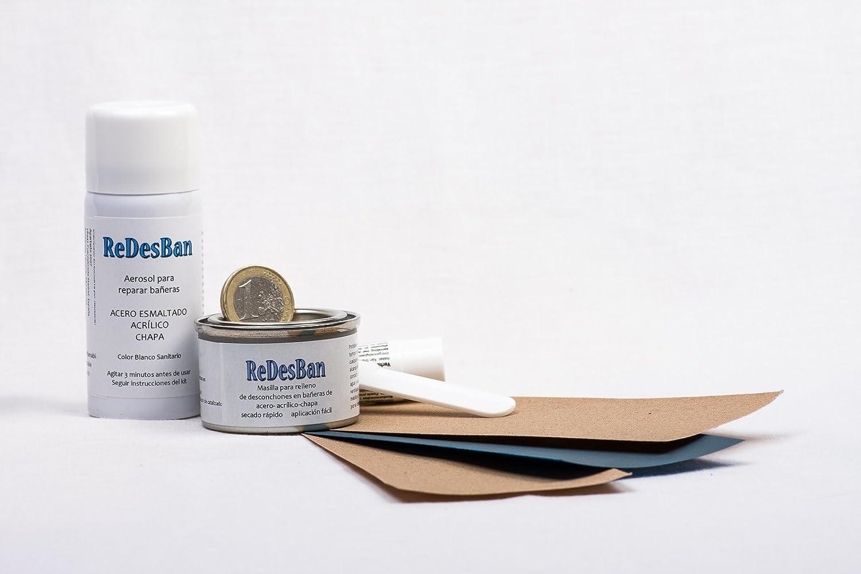 Kit para arreglar golpes, picotazos y desconchones en bañeras y platos de ducha de cualquier material (Azul Creta) Especial uso doméstico: Amazon.es: ...