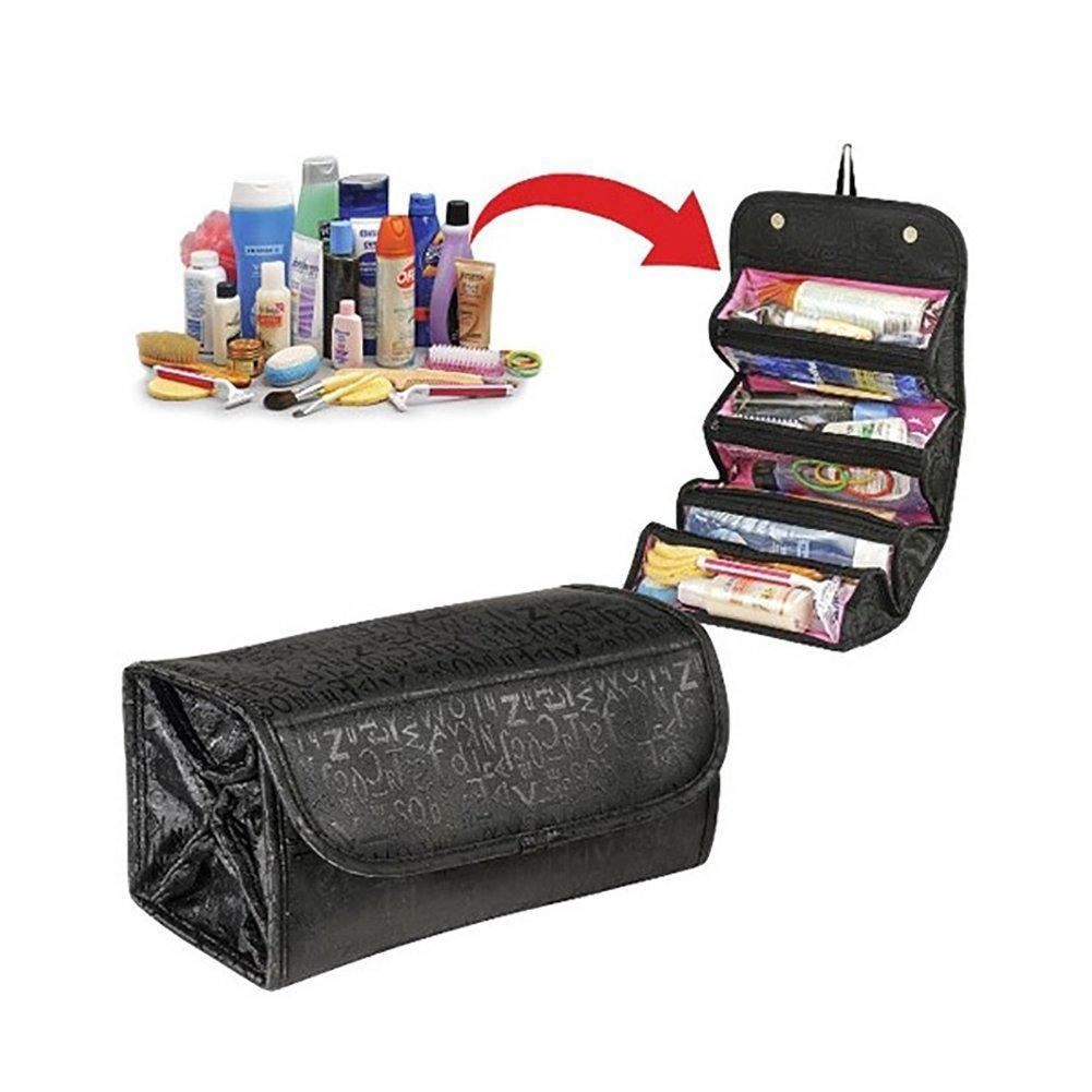 makeup Storage Bag, Woopower portatile da viaggio piccola trousse con strato adesivo Magic 4beauty makeup organizer portaoggetti per donne ragazze (nero)