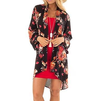 0dd40d3ccae Feitong Women Summer Plus Size Beach Floral Chiffon Kimono Cardigans Cover  Ups (S