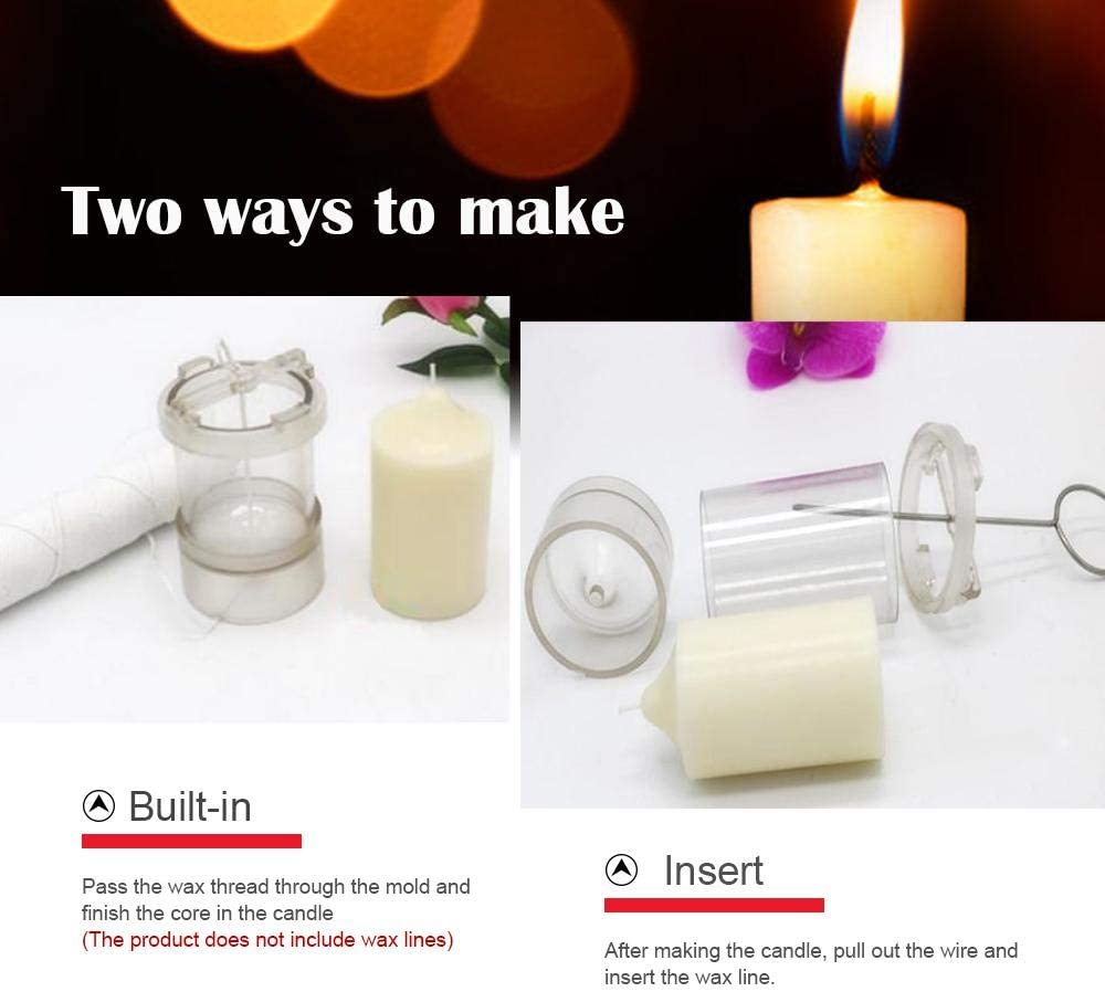1.5//2.3//3//3.9//5.9 in Tall Pillar Candle Mold Crystal Clear Plastic Candle Mold Kit AOLVO Column Candle Mold 1.5 in Diameter
