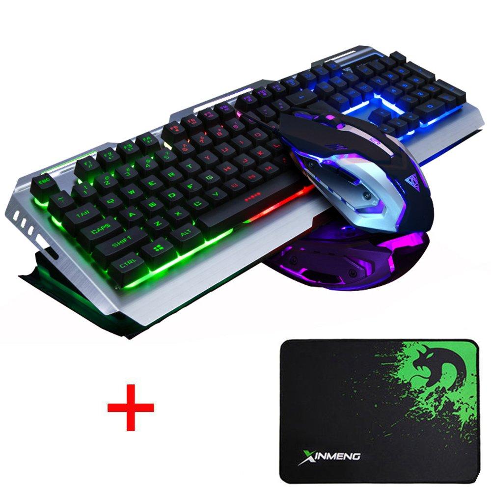 LexonElec Gaming-Tastatur-Maus-Set Combo Wired V1 LED Hintergrundbeleuchtung Multimedia USB Ergonomische Gaming-Tastatur Metall Wasserdicht 3200 DPI einstellbar 7 Farben Atmen Licht Optische Gamer