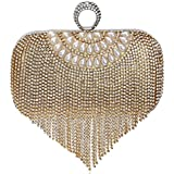 Ladies Elegant Luxury Rhinestone Tassels Wedding/Party Evening Bag Clutch Bags (Gold)