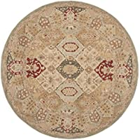 Safavieh Anatolia Collection AN530A Handmade Traditional Oriental Beige and Multi Wool Round Area Rug (8 Diameter)