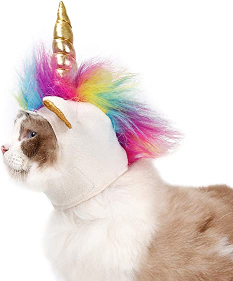 LlorenteRM Traje de mascotas Gato Sombrero de unicornio Sombrero ...
