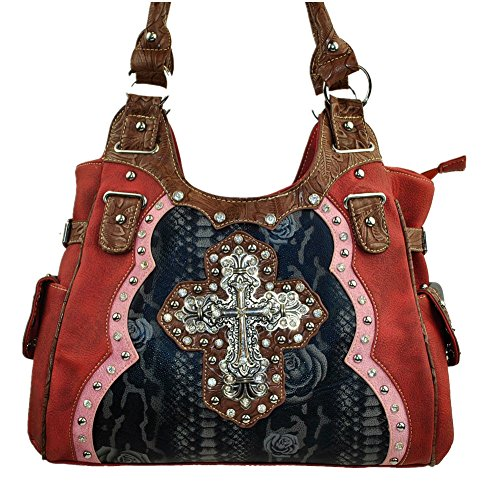 Leather 5800 (Rhinestone Cross Leather Shoulder Handbag Purse in Beige Brown and Red.)