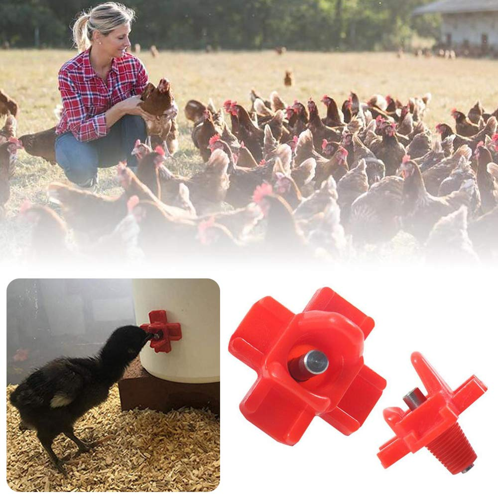 Skystuff 30pcs Chicken Feeder Poultry Feeder Chicken Water Horizontal Side Mount Automatic Poultry Nipples for Chicken or Quail