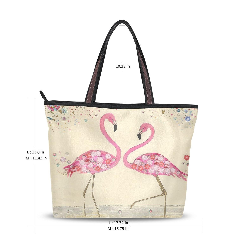 INGBAGS Fashion Large Tote Shoulder Bag Flamingo Pattern Women Ladies Handbag