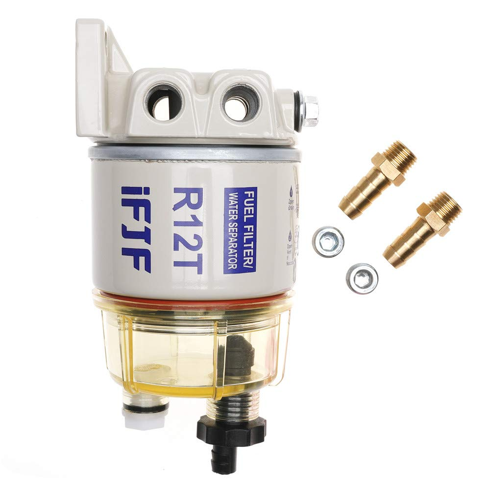 iFJF R12T Fuel Filter/Water Separator 120AT NPT ZG1/4-19 Automotive Parts Complete Combo Filter fit Diesel Engine(Include Four Fittings) by iFJF