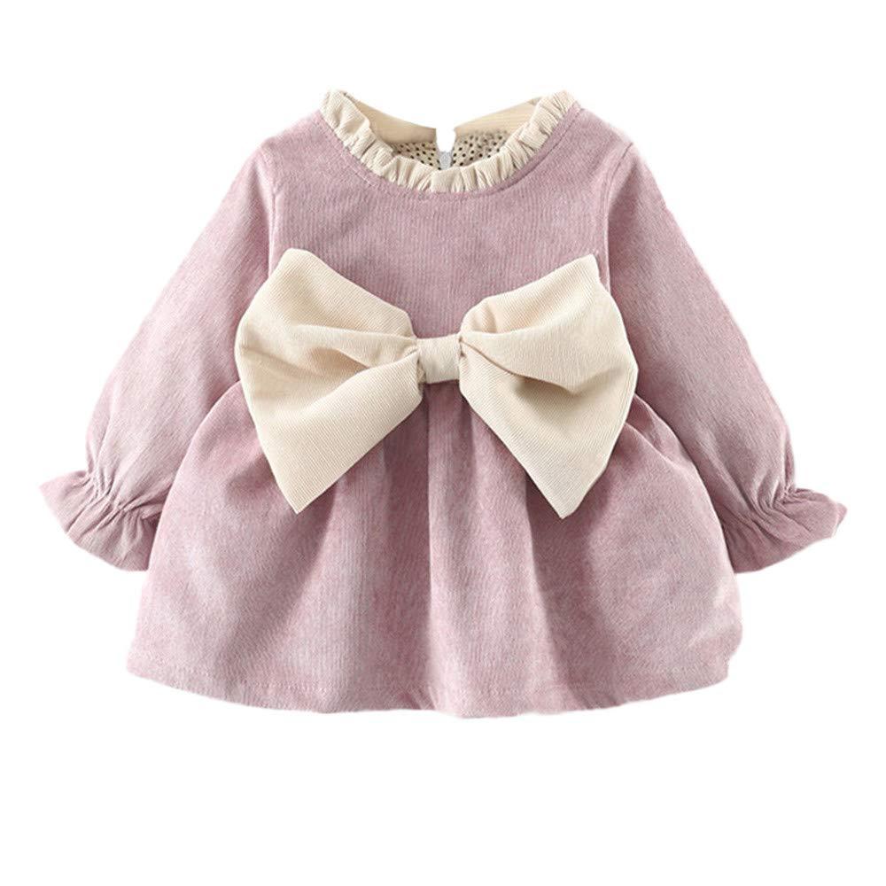Jimmackey Neonata Bambine Grandi Bowknot Cravatta Vestito Maniche Lunghe Tutu Abito Principessa Caldo Pullover Dress