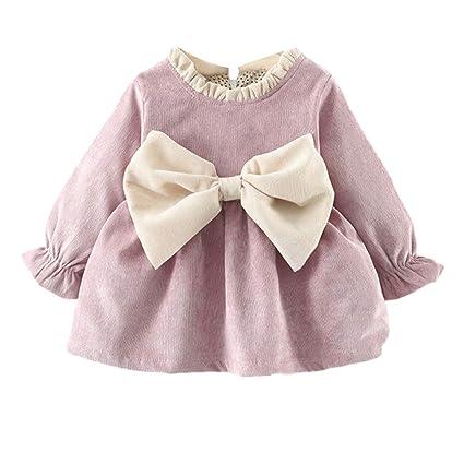 LEvifun Neonato Bambino Vestiti Ragazza Baby Manica Lunga con Fiocco in  Velluto Ispessito Natale Principessa Bello  Amazon.it  Abbigliamento 3123926af1f