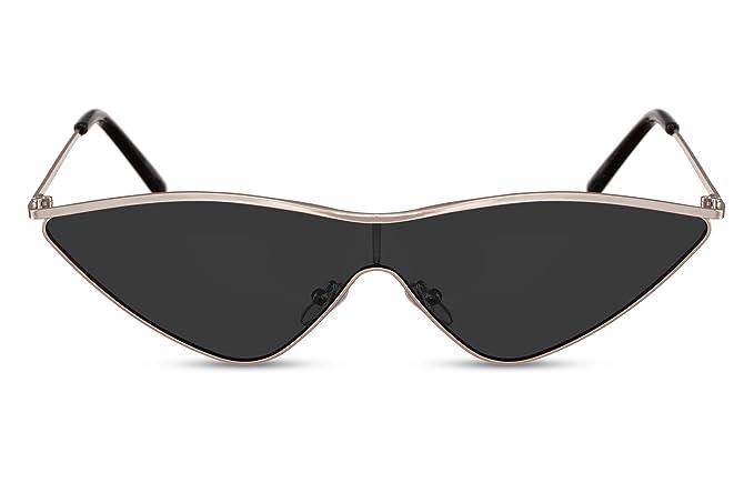 9c3ab59538 Cheapass Gafas de Sol Mujer Doradas Metálicas Montura Ojo de Gato con Negras  Lentes de Una Pieza UV400: Amazon.es: Ropa y accesorios