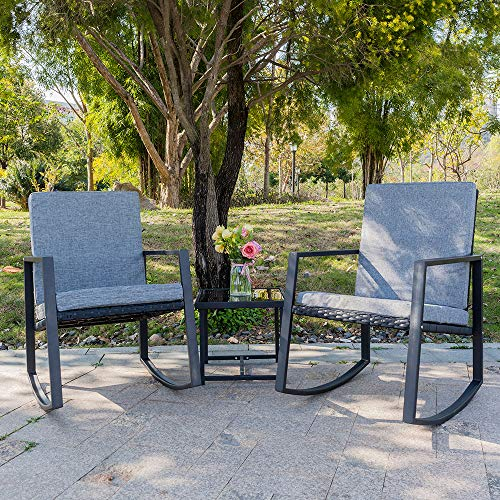 (Bonnlo 3 Piece Rocking Wicker Patio Set, Outdoor Bistro Set Furniture, Patio Conversation Set Rattan Sofa Armchair for Backyard Porch Poolside Lawn)