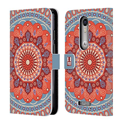 Head Case Designs Tangerine Circus Mandala Leather Book Wallet Case Cover For DROID Turbo 2 / X Force