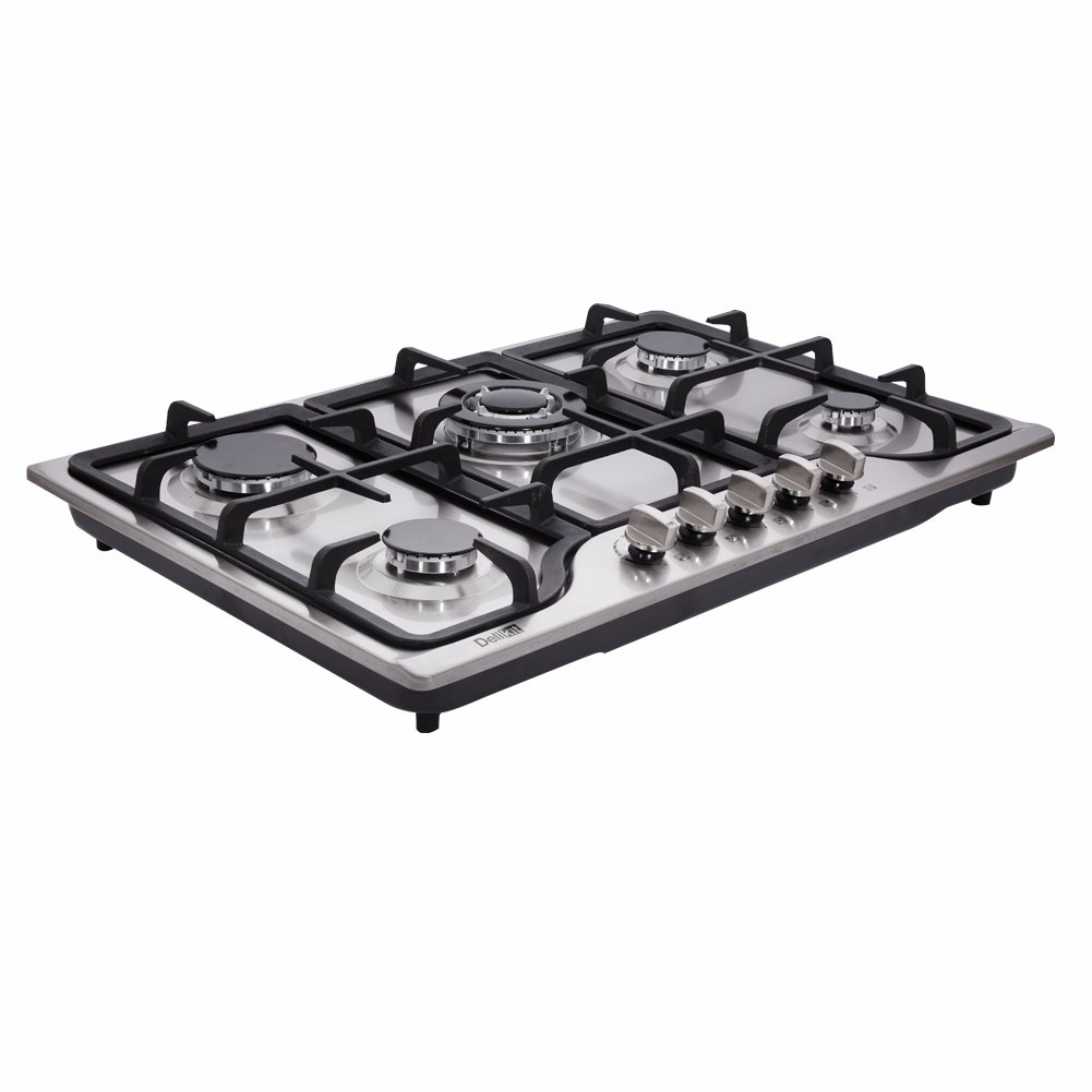 "DeliKit DK257-A01 30"" LPG/NG Gas Cooktop gas hob 5 burners Dual Fuel 5 Sealed Burners Built-In gas hob Stainless Steel 110V AC pulse ignition gas Cooker gas stove with cast iron support"