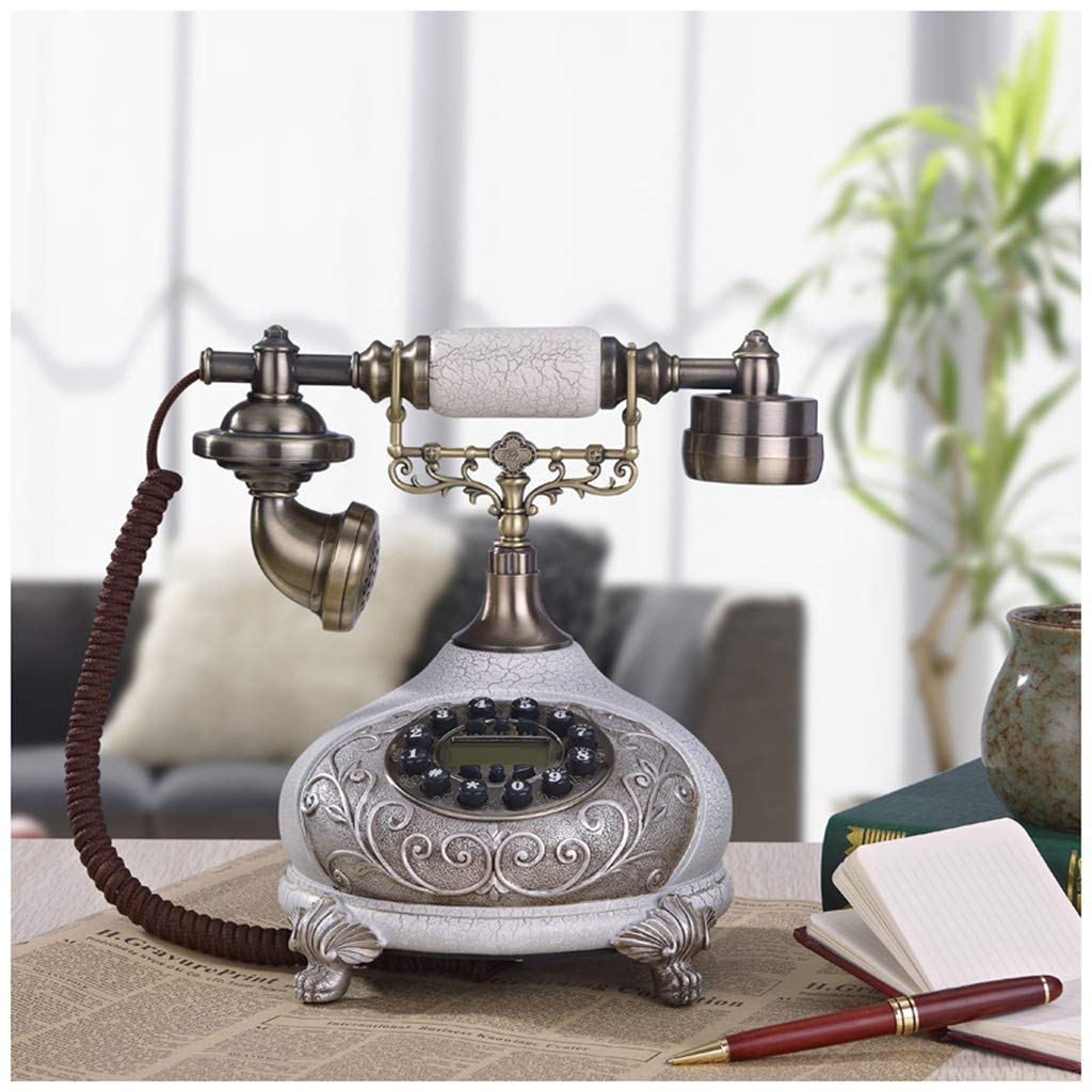 Telephones European Style Living Room Ice Cracked White Antique Telephone Carved Fixed Landline Bedroom Decoration Old Telephone Retro Phone