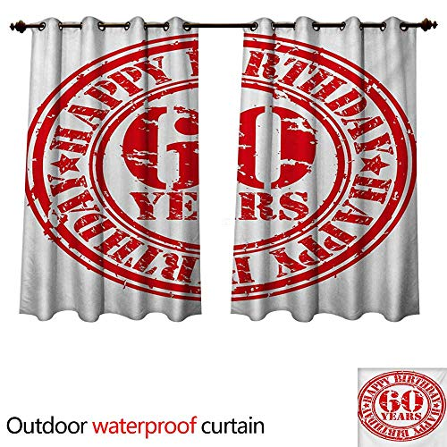 WilliamsDecor 58th Birthday Outdoor Balcony Privacy Curtain Abstract Grunge Style Happy Sixty Party Theme Retro Stamp Slogan Print W55 x L72(140cm x 183cm)