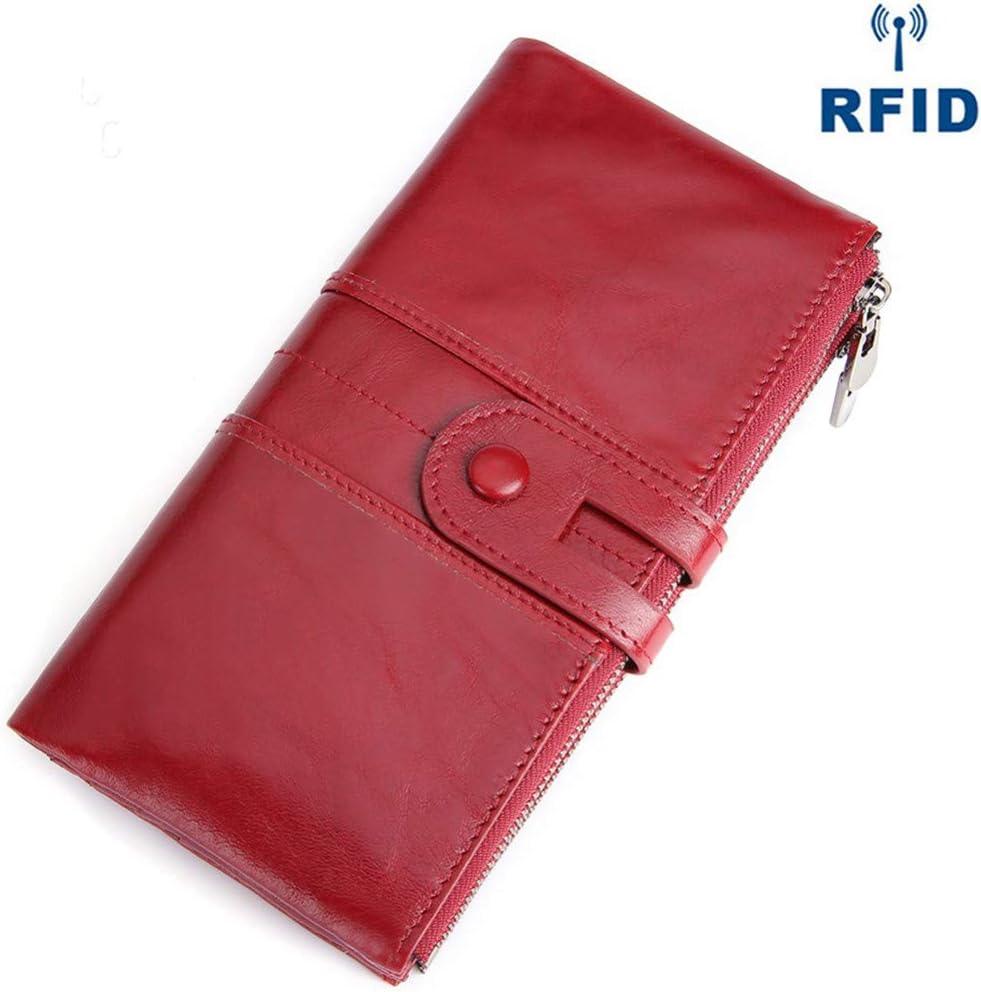 Leather Women Wallet Rfid Phone Long Clutch Wallet Coin Purse Money Zipper Purse Red