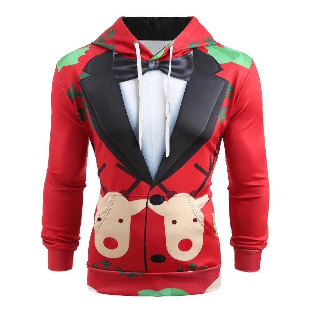 Sunnywill Men Christmas Sweatshirt Hoodie, Men Christmas Suit Pattern 3D Print Long Sleeve Hoodie Caps Sweatshirt Comfortable Casual Pullover