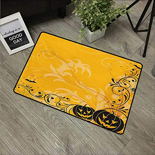 HRoomDecor Halloween,Cute doormats Carved Pumpkins with Floral Patterns Bats and Web Horror Jack o Lantern Artwork W 31