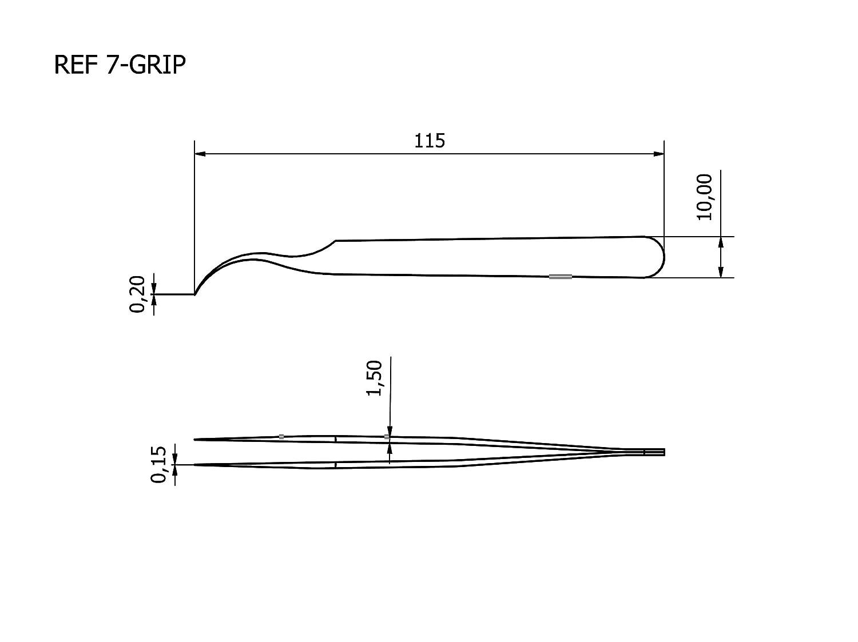 Rubis Tech Pr/äzisionspinzette 7-GRIP Ultrafeine technische Antirutsch Pinzette mit Pr/äzisionsspitze gebogen-spitz 0,15//0,2 mm rutschhemmende Beschichtung 115 mm