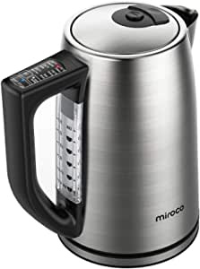 Miroco Electric Kettle Temperature Control Stainless Steel 1.7Liter Tea Kettle, BPA-Free Hot Water Boiler Cordless with LED Indicator, Auto Shut-Off, Boil-Dry Protection, Keep Warm, 1500W Fast Boiling