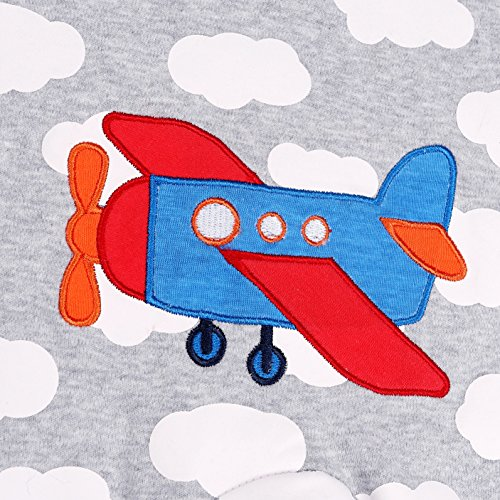 HONGLIN Baby Boys 2-Pack Footed Baby Pajamas Sleepers Rompers 100% Cotton Non-Slipping Sole (Dinosaur+Plane, 12-18 Months) by HONGLIN (Image #4)
