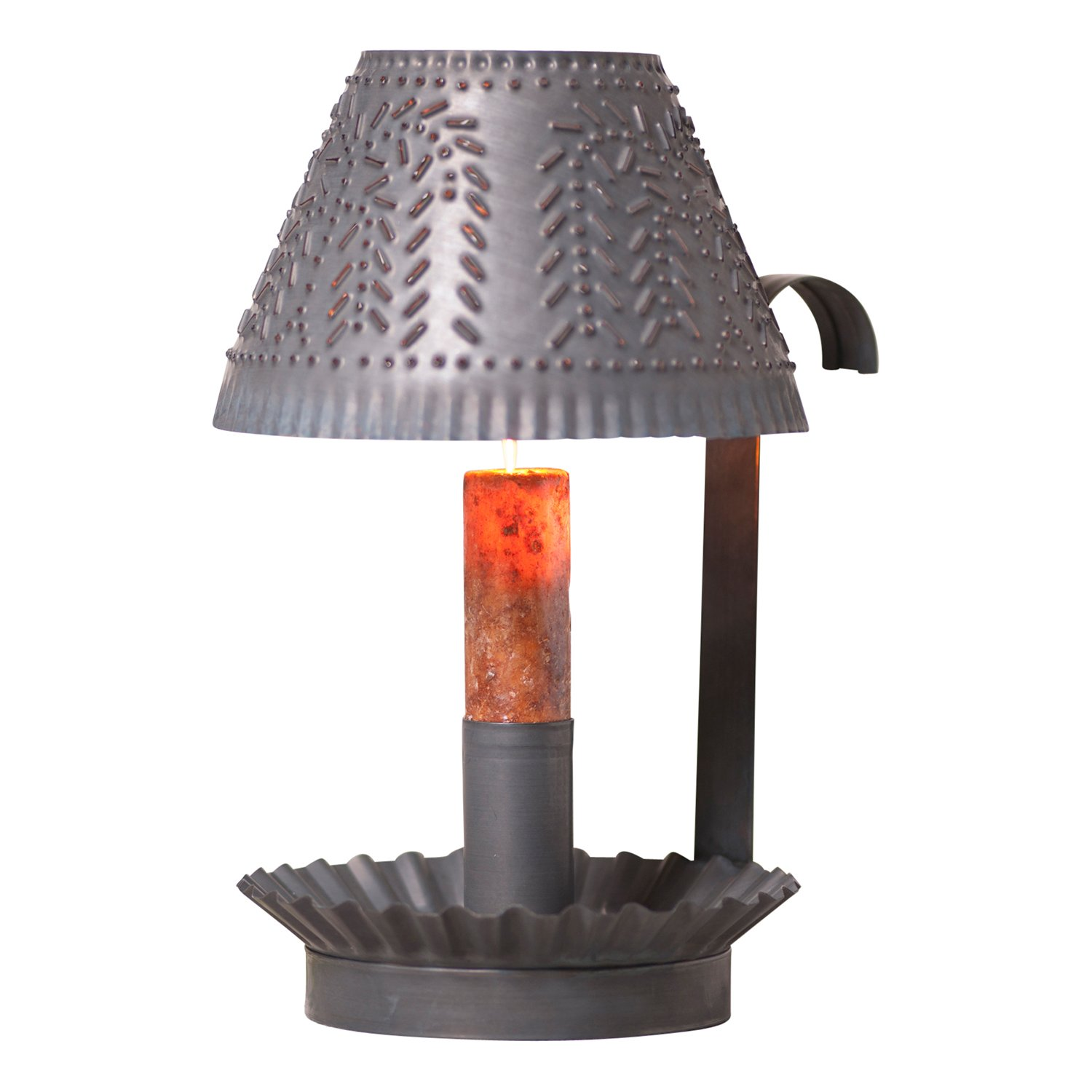 Farmhouse Shaded Candlestick in Blackened Tin