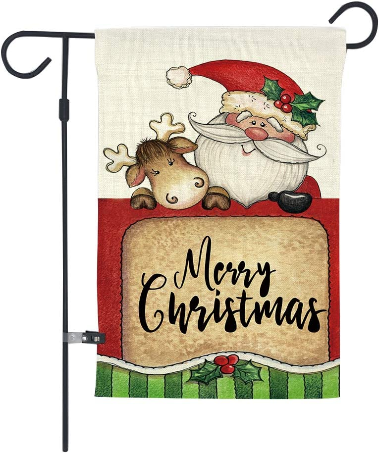 GOAUS Merry Christmas Garden Flag,Santa Claus and Cute Sleigh Reindeer,Double Sided Burlap Decorative House Flags for Home Lawn Yard Indoor Outdoor Decor,12 x 18 Inch