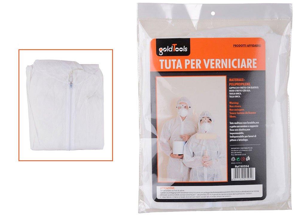 Vetrineinrete® Tuta monouso con cappuccio protettiva da lavoro polipropilene per pitturare verniciare ristrutturare chiusura cerniera elastico bianco taglia unica XL C8