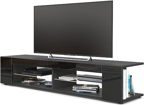 Vladon Mesa para TV Lowboard Movie, Cuerpo en Negro Mate/Frentes en Negro de Alto Brillo: Vladon: Amazon.es: Hogar