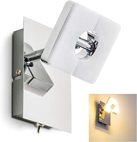 LED Wandspot modern Wandleuchte Strahler 1-flammig Leuchte Chrom Kippschalter