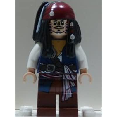 Jack Sparrow (Cannibal dual sided head) Lego from set #4182 Pirates of the Caribbean Minifigure: Toys & Games