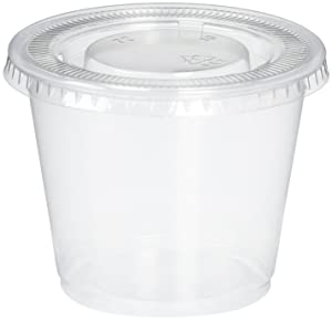 Reditainer - Plastic Disposable Portion Cups - The Perfect Souffle Cup (5.5 Ounce, Package of 100 Cups With Lids)
