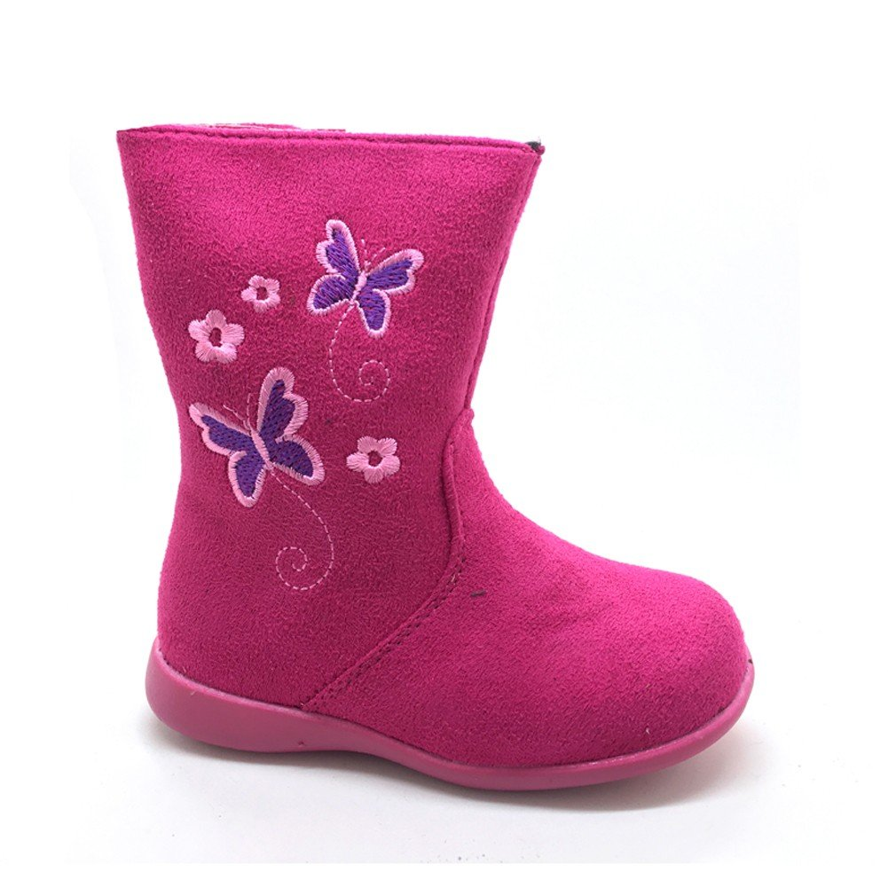 Little Girls Fuchsia Butterfly Embroidered Side Zip Boots 6 Toddler