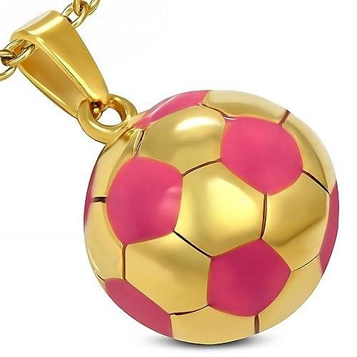 Acero inoxidable Amarillo tono dorado rosa fútbol balón de fútbol ...