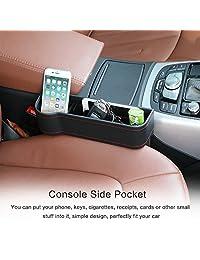 2 Piezas de Piel sintética asiento consola caja de almacenamiento, asiento de coche atrapasueños asiento bolsa de almacenamiento de monedero teléfono moneda clave tarjeta taza bebida (negro)