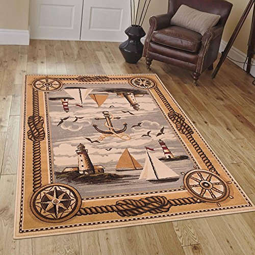 Ocean Boats Naval Nautical Lighthouse Scene Area Rug