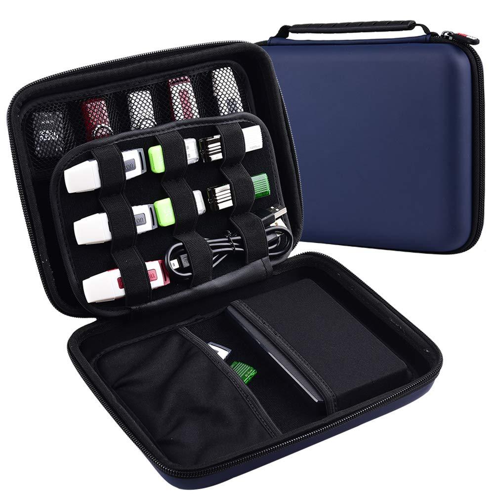 Caja de memoria USB, Bolsa de almacenamiento de viaje de disco duro, EVA Waterproof Organizador de accesorios electrónicos para Sandisk, WD y ...