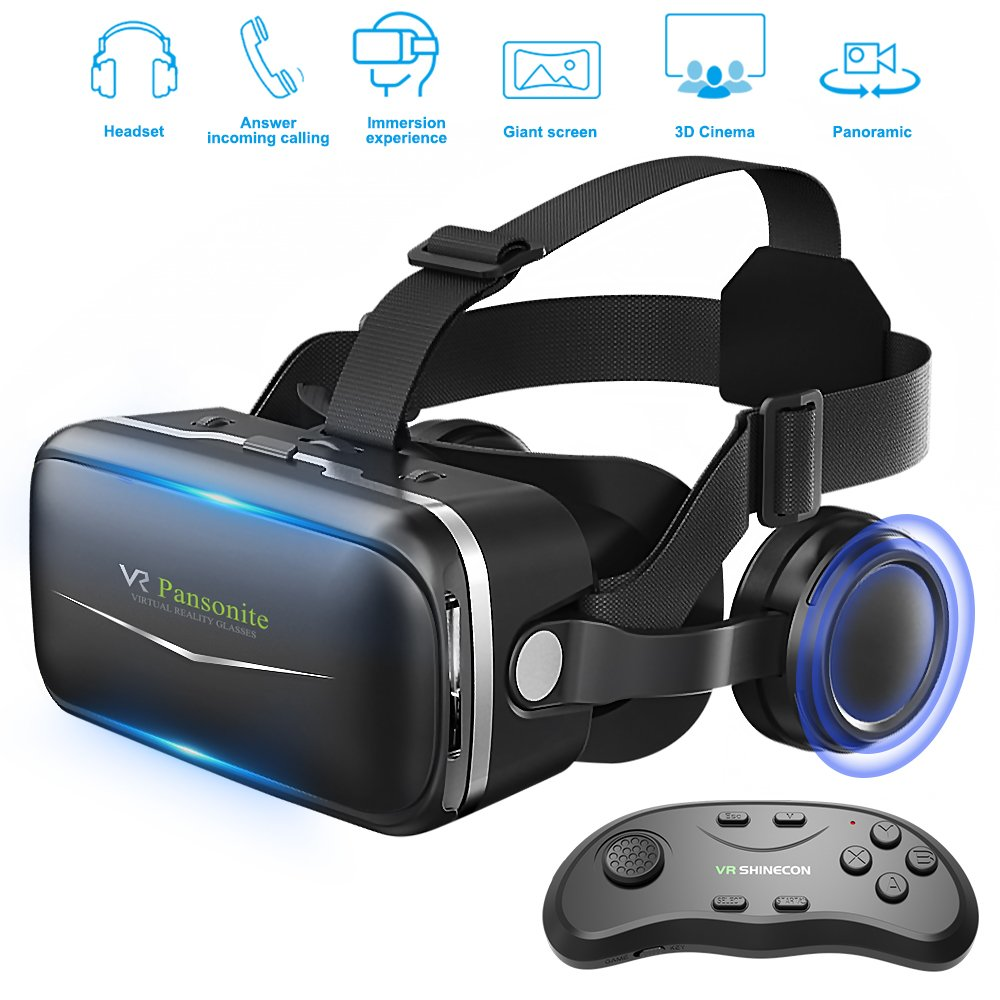 Pansonite Vr Headset with Remote Controller, 3d Glasses Virtual Reality Headset for VR Games & 3D Movies, Eye Care System for iPhone and Android Smartphones (Sb-black) by Pansonite
