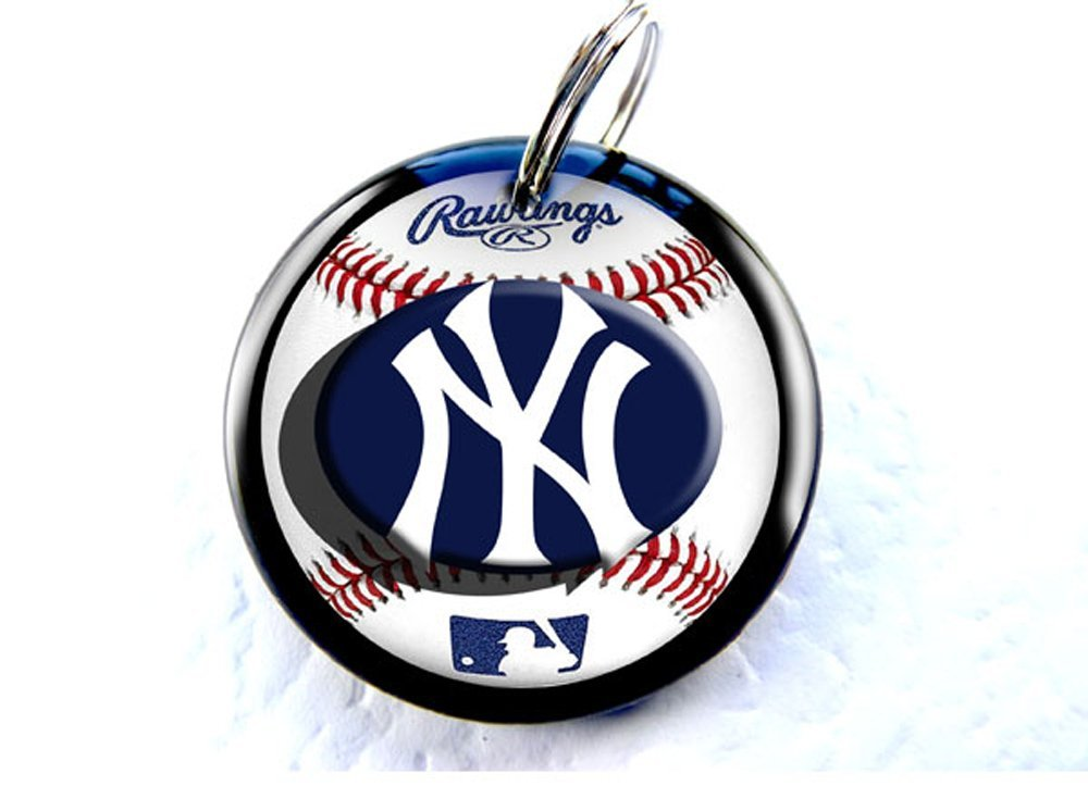 Sports Baseball NYY Custom Pet ID Tag dog tag cat pet tag DBL (Large 1.5'')